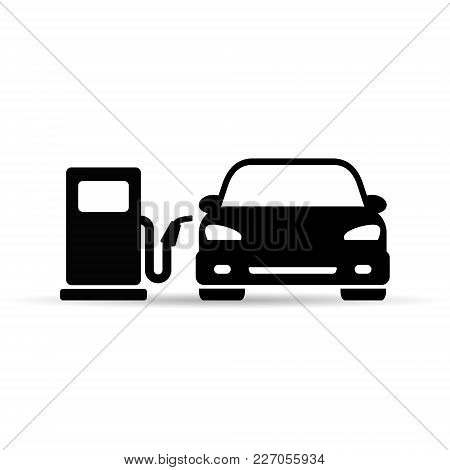 Car On Fuel Station Icon, Vector Isolated Icon On White Background.