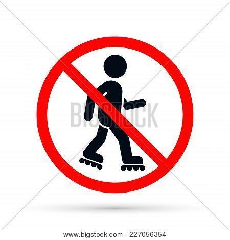 No Roller Skates Sign. Vector Isolated Illustration.