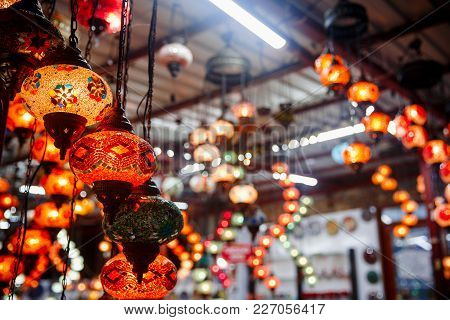 Traditional Turkish Lamps On Market. Lights Turkey. Lighting In Bazaar