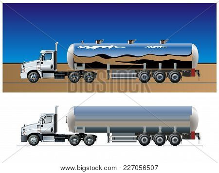 Vector  Tanker Truck Template. Available Eps-10 Separated By Groups And Layers