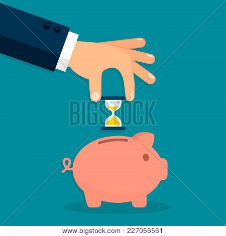 Businessman Hand Putting Clock Into Piggy Bank, Time Management And Time Saving Concept. Vector.