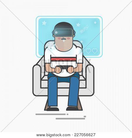 Illustration of man gaming on virtual reality