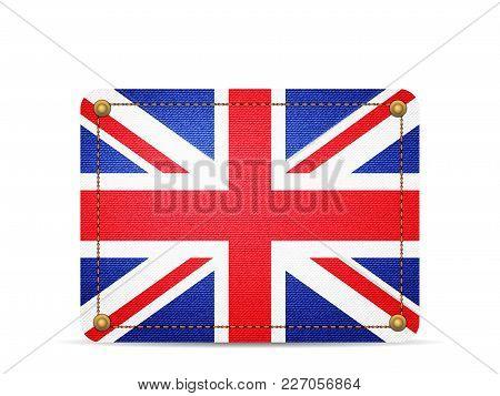 Denim Uk Flag On A White Background.