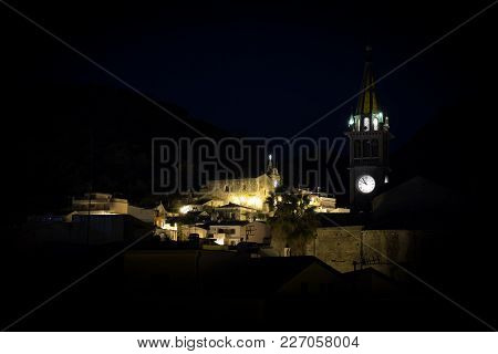Mediterranean, South Italy, Sicily, Calatabiano, Medieval Village By Night, With Ancient Church, Bel