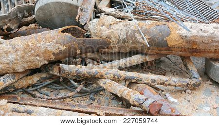 Rusted Tubes Of A  Construction Site For Laying Technological Infrastructure Like Pipeline And Fibre