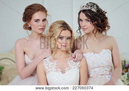 Three Girls In Wedding Dresses. Beautiful Delicate Girls In The Bridal Salon. Close-up