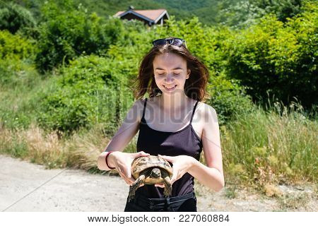 Brunette Girl In A Black T-shirt Holds A Land Turtle In Her Hands And Look On It