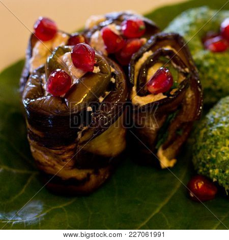 Rolls Of Eggplant With A Filling Of Walnuts, Georgian Snack