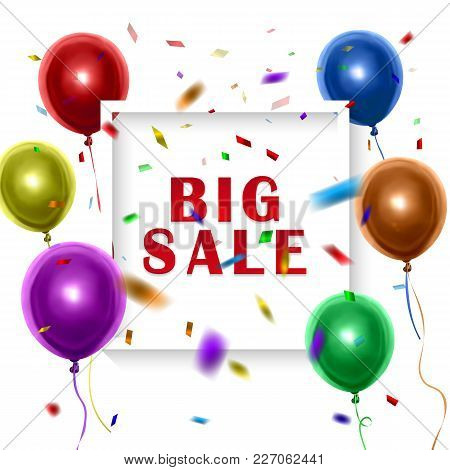 White Sale Sign Over Colorful Balloons Background. Vector Holiday Illustration