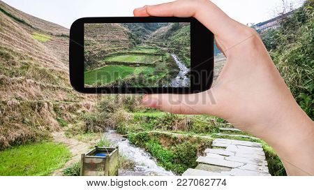 Tourist Photographs Terraced Fields In Dazhai