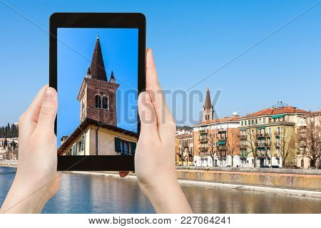 Travel Concept - Tourist Photographs Tower Of Church Chiesa Di San Tomaso Becket (chiesa Di San Toma