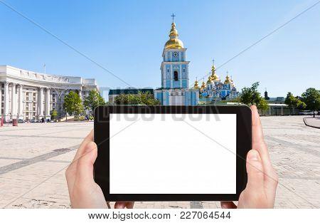 Tourist Photographs St Michael Monastery In Kiev