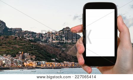 Travel Concept - Tourist Photographs Giardini-naxos Town And Taormina City In Sicily Italy In Summer