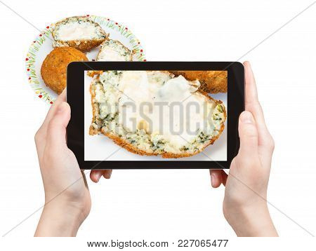 Travel Concept - Tourist Photographs Spinach Stuffed Rice Balls Arancini On Plate (traditional Sicil