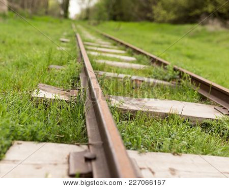 Old Railway In The Grass . In The Park In Nature
