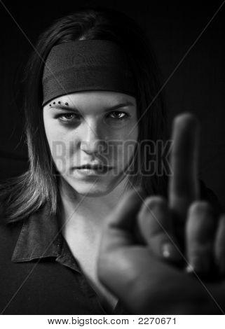 Girl Ignoring Middle Finger