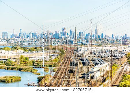 Kearny, Usa - October 27, 2017: Industrial Factory Csx Shipping Complex In New Jersey With Cityscape