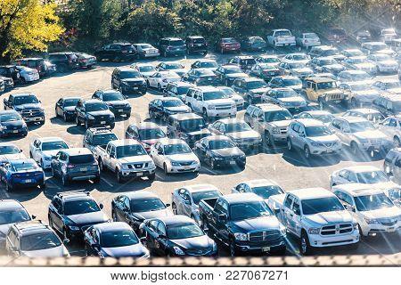 Kearny, Usa - October 27, 2017: View Of New Jersey Car Parking Lot With Many Shiny Cars, Reflection