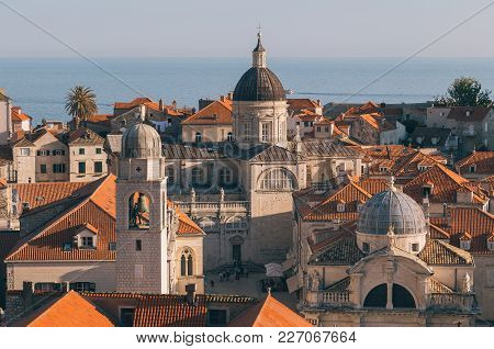 Classic Panoramic View Of The Historic Town Of Dubrovnik, One Of The Most Famous Tourist Destination