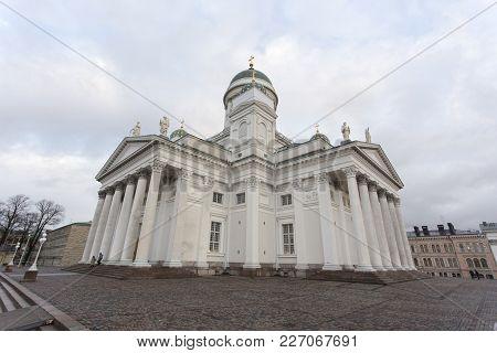 Helsinki, Finland - December 27, 2017: Lutheran Church In Helsinki
