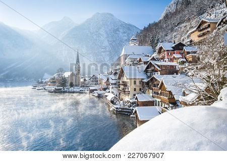 Classic Postcard View Of Famous Hallstatt Lakeside Town In The Alps On A Beautiful Cold Sunny Day Wi