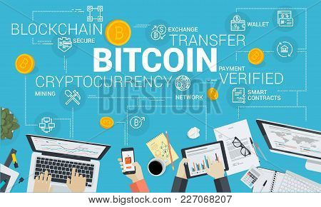 Bitcoin. Flat Design Style Web Banner Of Blockchain Technology, Bitcoin, Altcoins, Cryptocurrency Mi