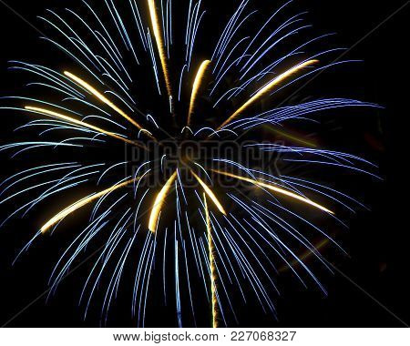 Fireworks Exploding In The Night Sky During The Arizona 4th Of July.