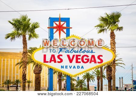 Classic View Of Welcome To Fabulous Las Vegas Sign At The South End Of World Famous Las Vegas Strip