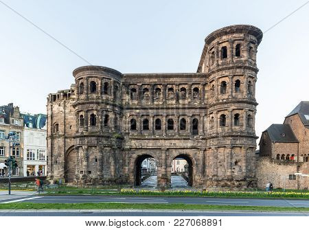 Classic View Of Famous Porta , The Largest Roman City Gate Monument North Of The Alps, In Beautiful