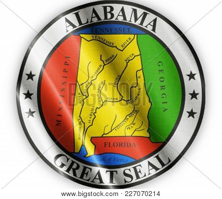 Us State Alabama Seal Textured Proud Country Waving Flag Close