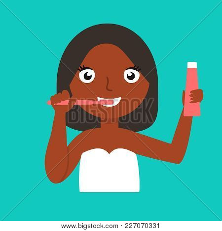 Young African-american Woman Brushing Teeth. Smiling Woman Cleaning Teeth. Cheerful Woman Taking Car