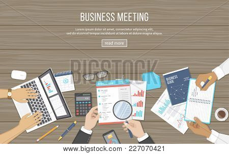 Business Meeting And Brainstorming. Office Teamwork Concept With People Around The Table. Analysis,
