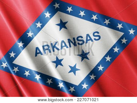 Us State Arkansas Textured Proud Country Waving Flag Close