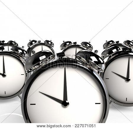 Group of alarm clocks. 3D Rendering