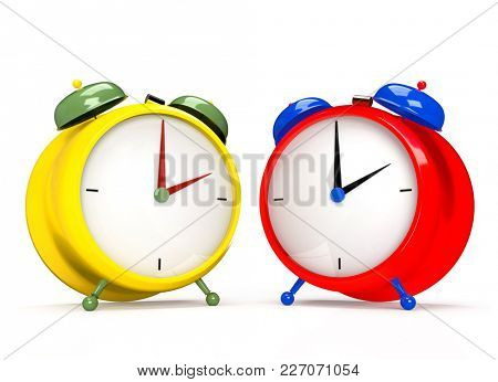 Two colorful alarm clocks on white background. 2 O'clock pm or am. 3D rendering