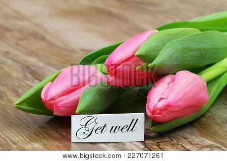 Get Well Card With Pink Tulips On Wooden Surface