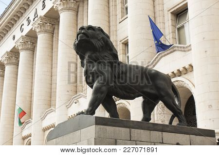 Sofia, Bulgaria - October 09, 2017:  Statue Of Lion Near Trial Chamber, Build In 1941 Year