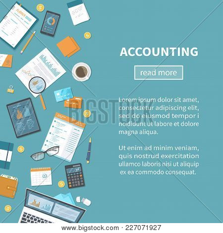 Accounting Concept. Tax Calculation. Financial Analysis, Planning, Analytics, Statistics, Data Analy