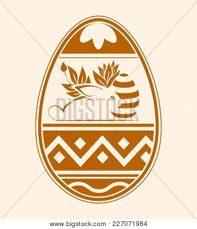 Easter Egg With Ornament And With A Silhouette Of A Rabbit