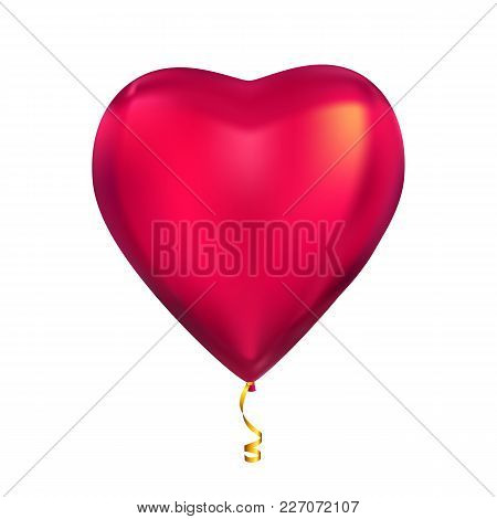 Heart Shape Colour Glossy Helium Balloons Isolated On White Background. Vector Illustration Eps10