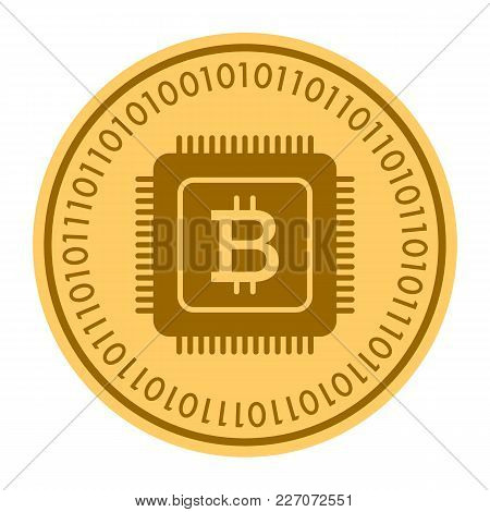 Microprocessor Golden Coin Vector Icon. Gold Yellow Flat Coin Symbol Isolated On White. Eps 10.