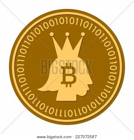Crown Golden Digital Coin Vector Icon. Gold Yellow Flat Coin Cryptocurrency Symbol Isolated On White