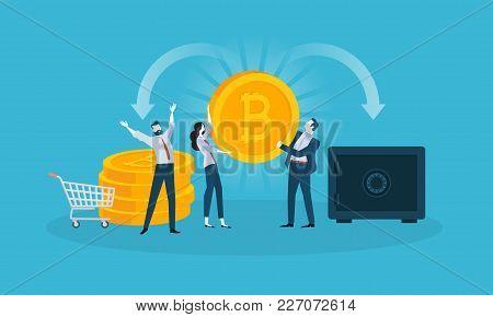 Bitcoin Wallet. Flat Design Style Web Banner Of Blockchain Technology, Bitcoin, Altcoins, Cryptocurr