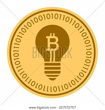 Hint Lamp Golden Digital Coin Vector Icon. Gold Yellow Flat Coin Cryptocurrency Symbol. Isolated On