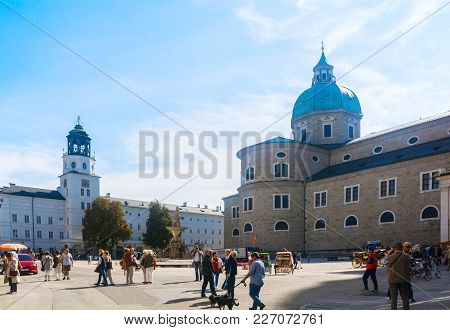 28.09.2016. Tourists And Locals Stroll Through The Main Square Of Salzburg
