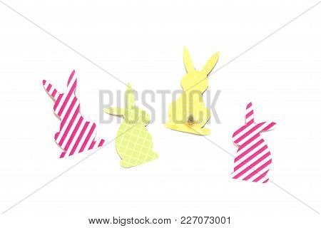 Festive Decor Of Handmade - Easter Bunny (easter Rabbit)craft Of Paper, Isolated On White Background