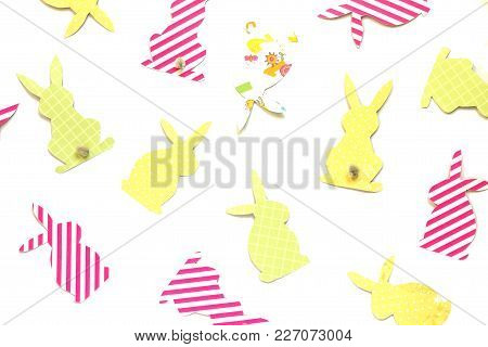 Easter Bunny (easter Rabbit) Craft Of Paper, Isolated On White Background. Festive Decor Of Handmade