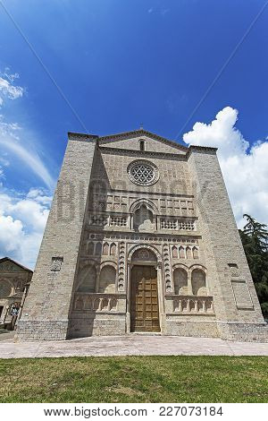 Gubbio, Italy - June 5, 2016: A View Of Gubbio Church. Gubbio Is A Town And Comune In The Far Northe