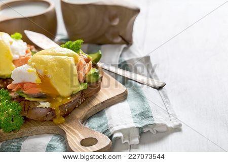 Eggs Benedict With Salmon Background