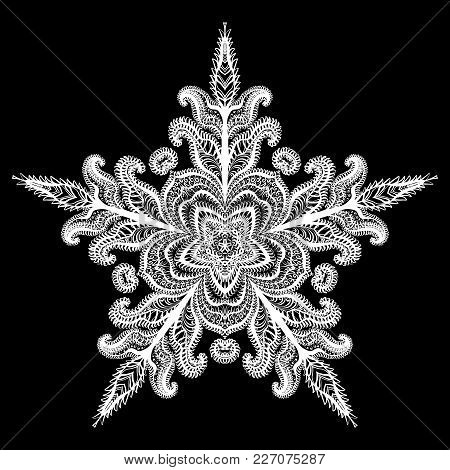 Snowflake Icon Graphic Sign Symbol Drawing. White Snowflake Isolated On Black Background. Illustrati